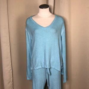LNA Light blue bell sleeve V-neck sweater small